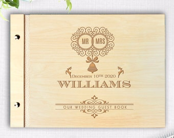 Wooden Wedding Guest Book, Winter Rustic Guestbook, Laser Engraved Names Bride and Groom, Handmade, Personalized