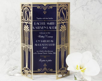 Art Deco Great Gatsby Personalized Gatefold Wedding Invitation Monogram, Hollywood Invite & Envelope, Golden Laser cut Gate, Gold, Die Cut