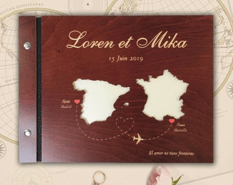 Map guest book etsy map personalised wooden brown guest book romantic photo album script book rustic guest book elegant guestbook unique bolt binding gumiabroncs Image collections