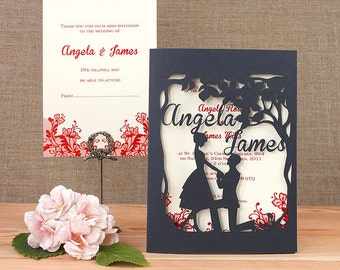 She Said YES Navy Intricate Laser Cut Wedding Invitation Couple U0026 RSVP Set  Personalized Names On Cover Floral With Envelopes, Many Colours