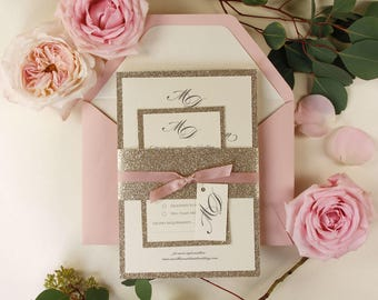 Modern Gold Glitter Wedding Invitation with Belly Band, Simple Rose Pink Elegance Pink Ribbon, Custom Tag, Rsvp Card + Envelopes w/ Liners