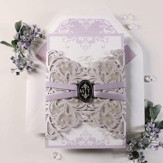 Personalised Elegant Purple /& Grey Gatefold Wedding Invitations