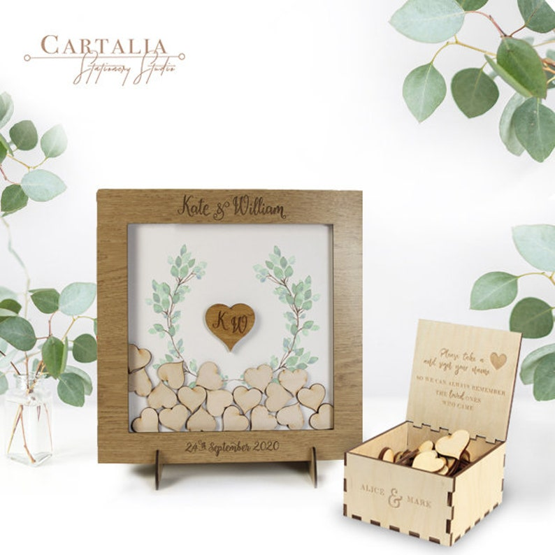 Small Classic White Elegant Alternative Personalised drop box Oak frame Wedding Guest Book with Hearts and Burlap Pouch Frame