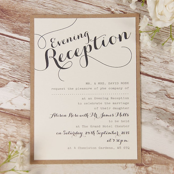 Wedding And Reception Invitations: Rustic Flower Wedding Evening Invitation With