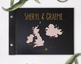 3 Countries Wooden Wedding Guest Book with CustomWorld Map, Bespoke Laser Engraving , Personalised to bride groom, 100% True Wood,Hand Made