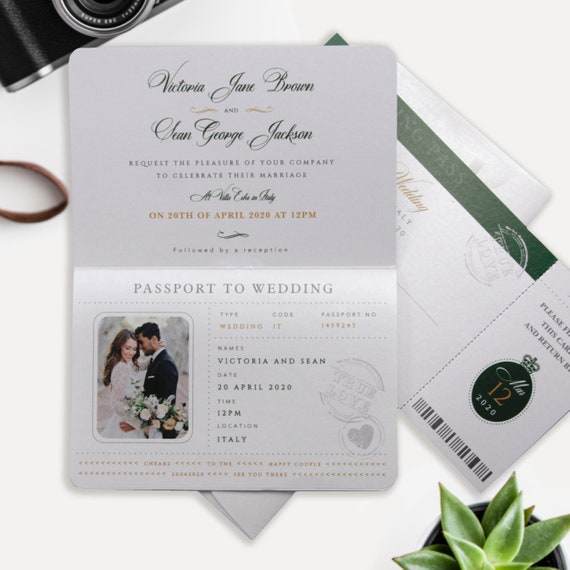 Passport Wedding Invitation Navy Blue Gold Foil Boarding Pass Invite,Wedding Abroad,Destination Wedding,Travel Wedding, Plane Ticket Invite