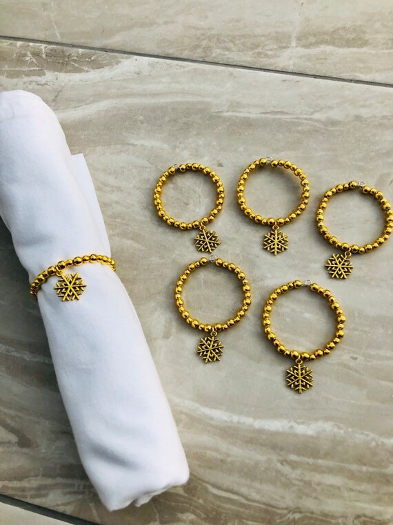 6 Gold Napkin Rings Party Home Decoration Beaded Xmas Table Serviette Dinner