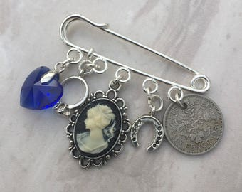 Something old, new, borrowed and blue, garter pin, lucky sixpence, bridal gift, bridal pin, something blue brooch, bridal brooch