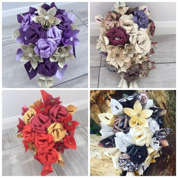 Bouquet De Mariee Fleur Papier Papier Fleur Cascade Bouquet Etsy
