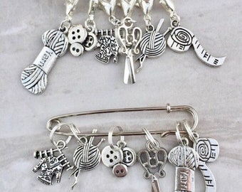 Silver Knitting Sewing Charm Stitch Markers, progress markers / keepers for knitting and crocheting