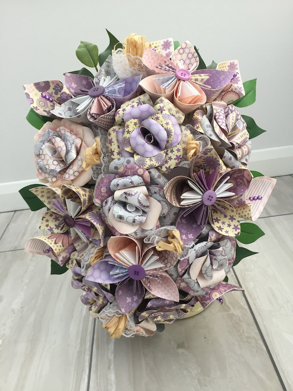 Bouquet Sposa Carta.Summer Flower Bridal Bouquet Paper Flower Cascade Bouquet Etsy