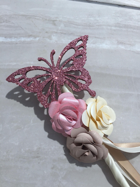 Butterfly Flowergirl Wand Bridesmaid Bouquet Flower Wand