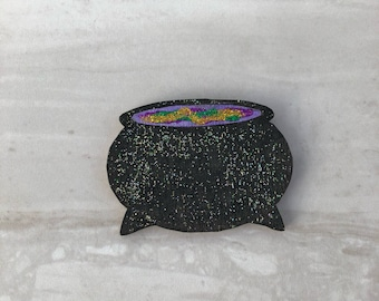 Sparkly Cauldron fridge magnet, wooden magnet, Halloween magnet, kitchen decor, Halloween decor, Halloween gift