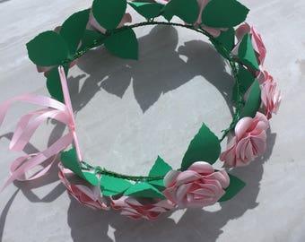 Flower crown, paper flower crown, wedding crown, bridal floral crown, floral tiara, rose crown, rose headband