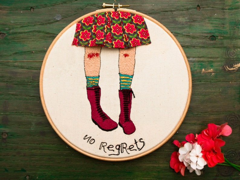 Citaten Hoop United : No regrets embroidery illustration embroidered quotes hoop etsy
