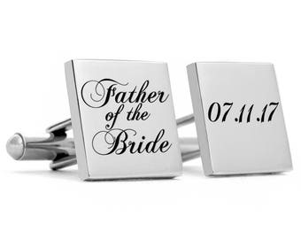 Father of the Bride Cuff links, stainless Steel, Gift for Dad, Wedding Cufflinks