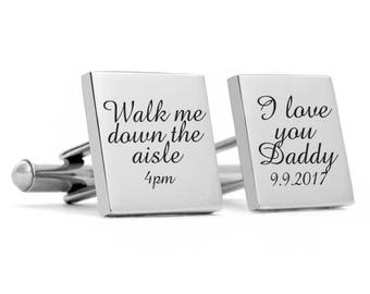 Father of the Bride Cuff links, Stainless Steel Gifts for Dad, Wedding Cufflinks GIft