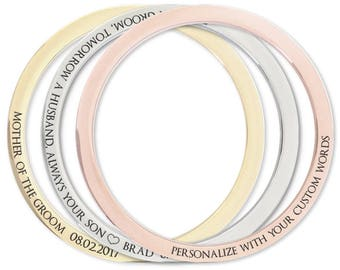 Personalised engraved bangle in silver, gold or rose gold. Perfect for graduation mothers day sister bridesmaid birthday