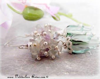 925 sterling silver fluorite cluster earrings