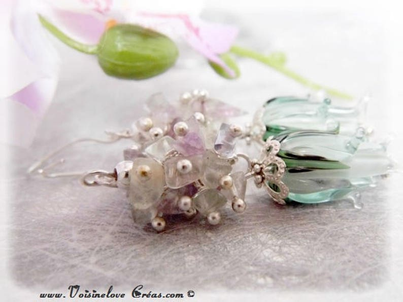 Earrings 925 sterling silver fluorite cluster beads Lampwork romantic wedding