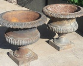 Pair of French Cast Iron Urns (Set of 2)