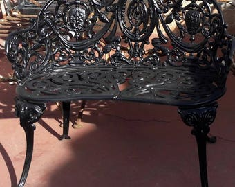 Cast Iron Figural Victorian Bench