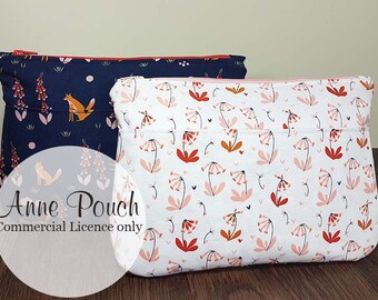 Anne Pouch Commercial Use Licence Only - Zip Pouch,  cosmetic bag, makeup bag, Wristlet pattern, pdf bag sewing pattern, phone pouch