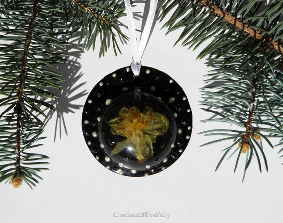 Galaxy Christmas ornaments handmade Black yellow flower gothic home decor  Christmas decorations Christmas tree hanging Narcis A9F CC8
