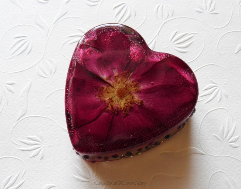 Anniversary gift for her Heart ornament Red rose flower heart  d5a789ec8