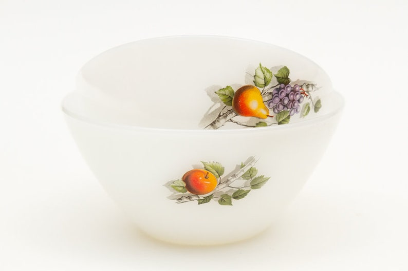 Two French Arcopal bowls French pear and grapes glass dish white glass bowls Arcopal dish Fruits de France bowls French pyrex opaline