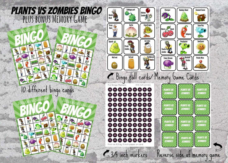 Zombies Bingo & Memory Games   Etsy