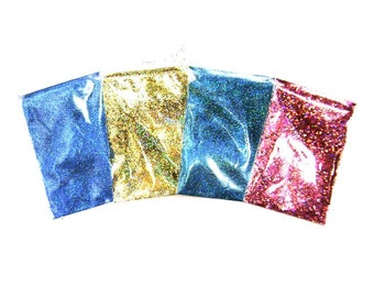 Holographic Glitter Sampler Set #2 - Solvent Resitant Polyester Holo Glitter Nail Polish, Makeup, Lip Gloss, Tumblers - Rainbow Glitter Pack