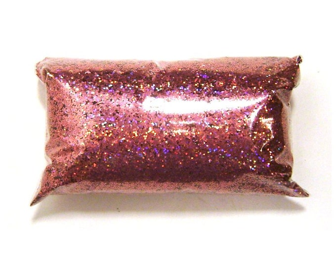 "Holographic Glitter, Chunky Pink Jewels, Solvent Resistant .025"" Poly Holo Glitter, Nail Polish, Makeup, Tumbler, Slime 6oz / 177ml Package"