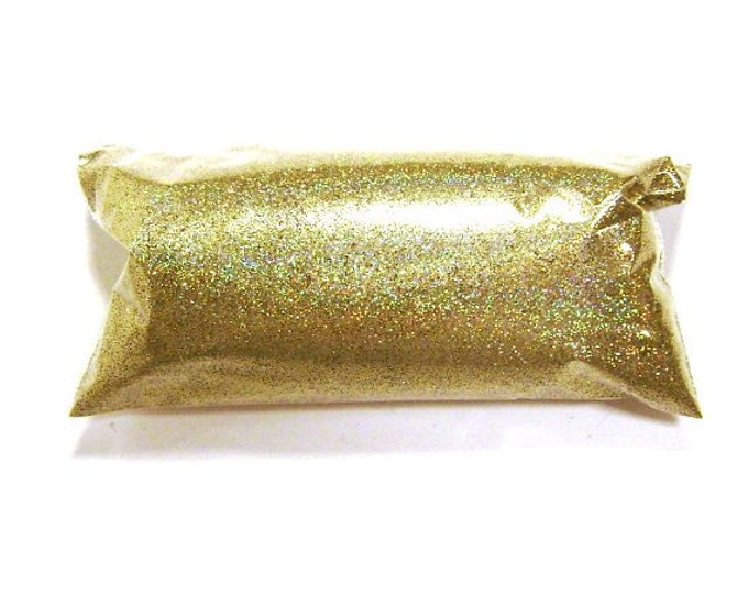 "Holographic Glitter, Gold Jewels, Solvent Resistant .008"" Fine Poly Holo Rainbow Glitter, Nail Polish, Tumbler, Slime, Makeup, Body Glitter"