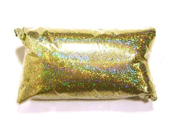"Gold Jewels Holographic Glitter, Poly .015"" Fine Rainbow Glitter, Nail Polish, Makeup, Tumbler, Slime, Wedding Glitter - 6oz / 177ml Package"