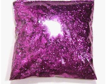 "Chunky Glitter Rich Fuchsia (Purple) .025"" Solvent Resistant Polyester Bulk Glitter Body Art, Nail Polish, Tumbler, Hair 9oz / 266ml Package"