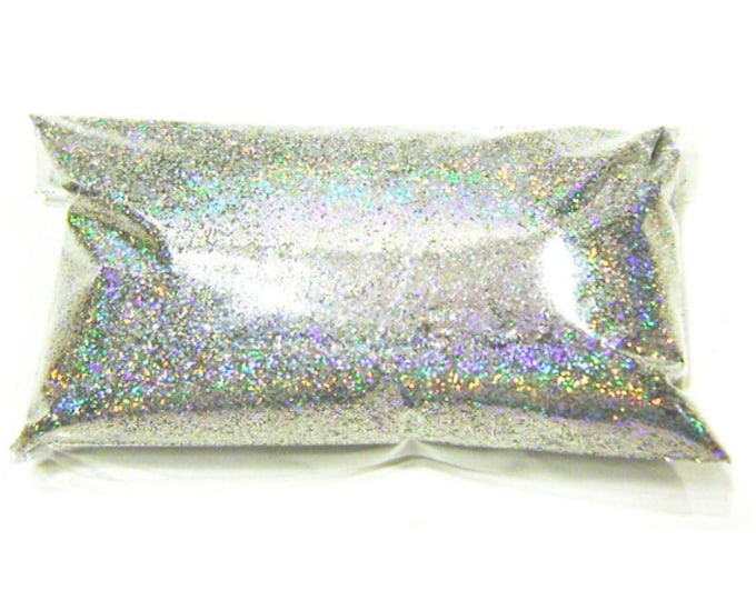 """Silver Jewels Holographic Glitter - Solvent Resistant Polyester .015"""" Poly Holo Glitter - Nail Polish - Crafts - Tumbler 6oz / 177ml Package"""
