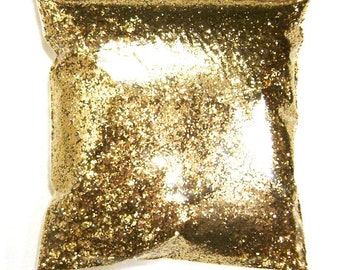 "Chunky Glitter Golden Sand (Dark Gold) .025"" Solvent Resistant Polyester Bulk Glitter, Body, Nail Polish, Tumbler, Hair 9oz / 266ml Package"