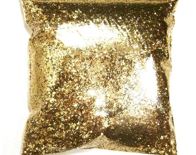 """Chunky Glitter Golden Sand (Dark Gold) .025"""" Solvent Resistant Polyester Bulk Glitter, Body, Nail Polish, Tumbler, Hair 9oz / 266ml Package"""