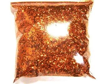 "Chunky Glitter Bright Orange Metallic Solvent Resistant Poly Glitter .025"" Bulk Glitter Body Art, Nail Polish, Tumbler 9oz / 266ml Package"
