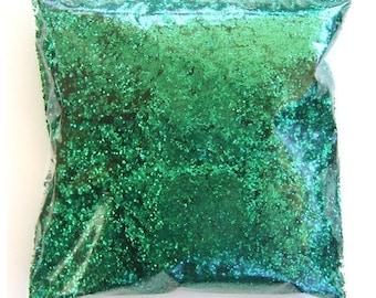 "Chunky Glitter Rich Emerald Green Solvent Resistant Polyester Glitter .025"" Bulk Glitter Body Art, Nail Polish, Tumbler 9oz / 266ml Package"