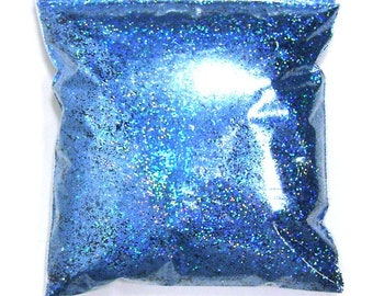 "Holographic Glitter, Chunky Sky Blue Jewels, Rainbow Polyester .025"" Holo Bulk Glitter, Slime, Sneakers, Resin, Epoxy - 11oz / 325ml Package"