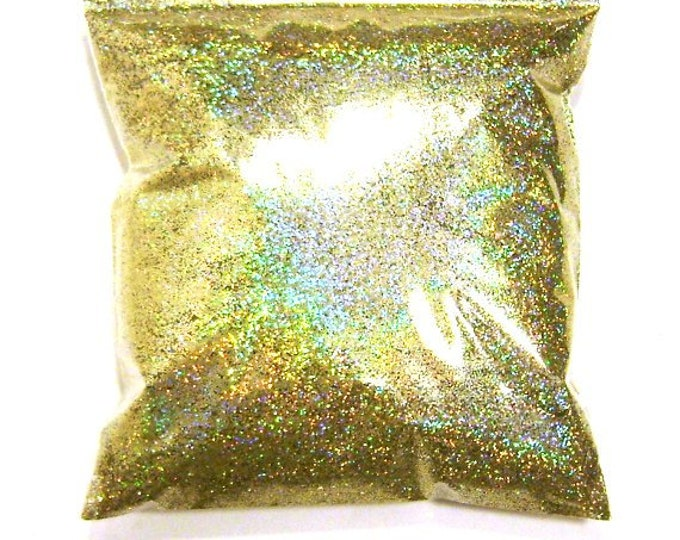 "Gold Jewels Holographic Glitter, Rainbow Fine .015"" Poly Holo Bulk Glitter, Slime, Tumbler, Resin Art, Nail Glitter - 11oz / 325ml Package"
