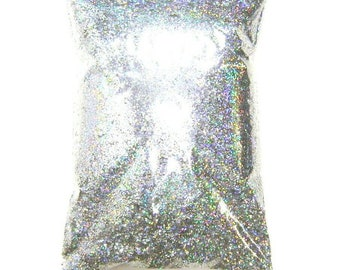 """Silver Jewels Holographic Glitter, Solvent Resistant Polyester - .008"""", .015"""" or .025"""" Fine to Chunky Holo Bulk Glitter, 1 lb / 454g Package"""