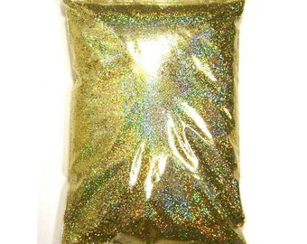 """Gold Jewels Holographic Glitter, Solvent Resistant Polyester .008"""", .015"""" or .025"""" Fine to Chunky Iridescent Glitter, 1 lb / 454g Package"""