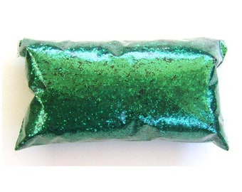 "Chunky Glitter Rich Emerald Green Glitter Loose Polyester Glitter .025"" Nail Polish, Shoe, Body, Slime, Craft Glitter - 6oz / 177ml Package"