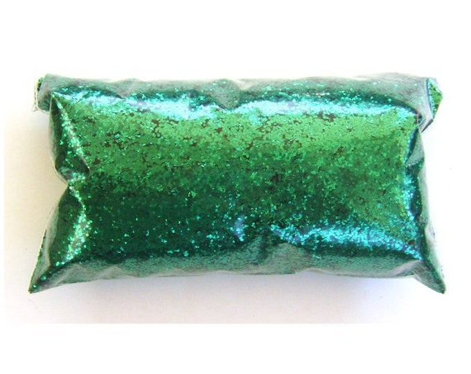 "Chunky Glitter Rich Emerald Green Glitter Loose Polyester Glitter .025"" Nail Polish, Shoe, Body, Slime, Craft Glitter - 6oz / 177ml Package"