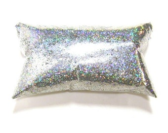 """Silver Jewels, Chunky Holographic Glitter, Solvent Resistant .025"""" Poly Holo Glitter, Nail Polish, Makeup, Tumblers - 6oz / 177ml Package"""