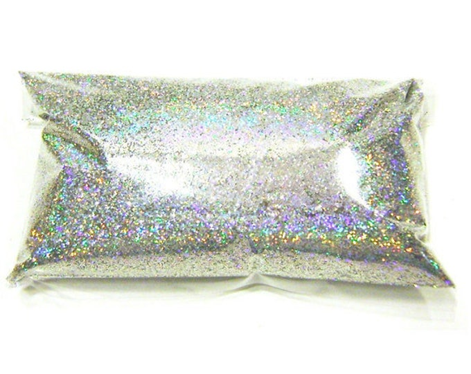 "Silver Jewels Holographic Glitter Solvent Resistant .008"" Fine Poly Holo Glitter, Nail Polish, Tumbler, Makeup Glitter 6oz / 177ml Package"