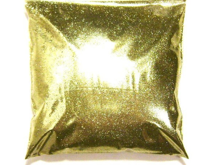 "Bright Gold Glitter .008"" Fine Solvent Resistant Polyester Poly Glitter - Nail Polish, Crafts, Slime, Body Glitter - 9oz / 266ml Package"